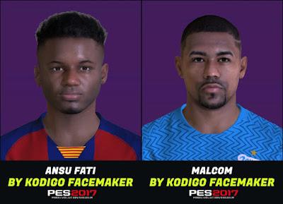 PES 2017 Faces Ansu Fati & Malcom by Kodigo