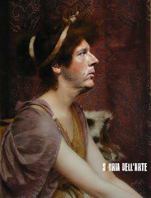 Fotomontaggi di politici in dipinti classici-Matteo Renzi, una classica bellezza. John William Godward