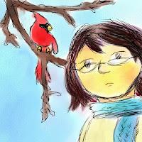 digital drawing depicting the author and a cardinal bird