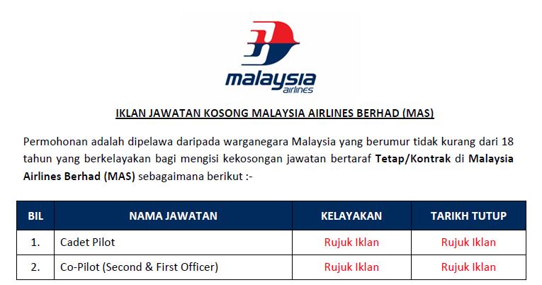 Jawatan Kosong Di Malaysia Airlines Berhad Mas