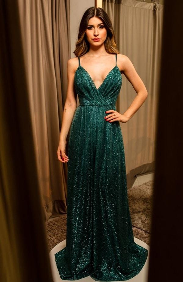 vestido de festa longo glitter verde  para madrinha de casamento
