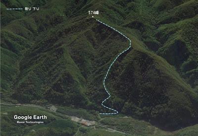 574峰への山行ルートの略図