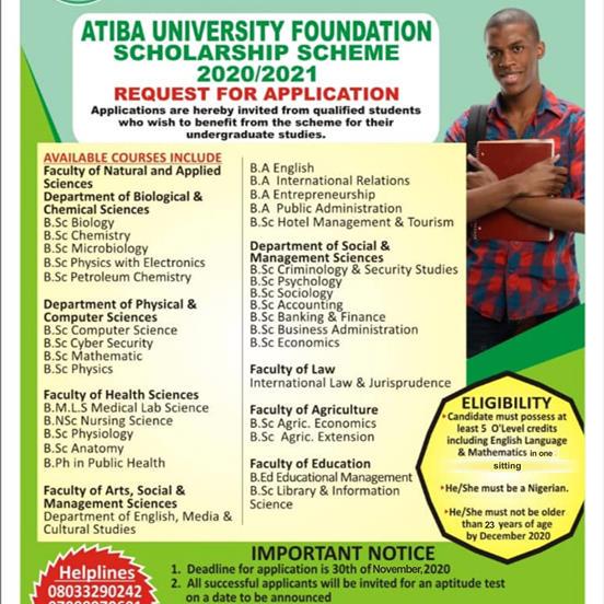 Atiba University Foundation Scholarship Award Form 2020/2021