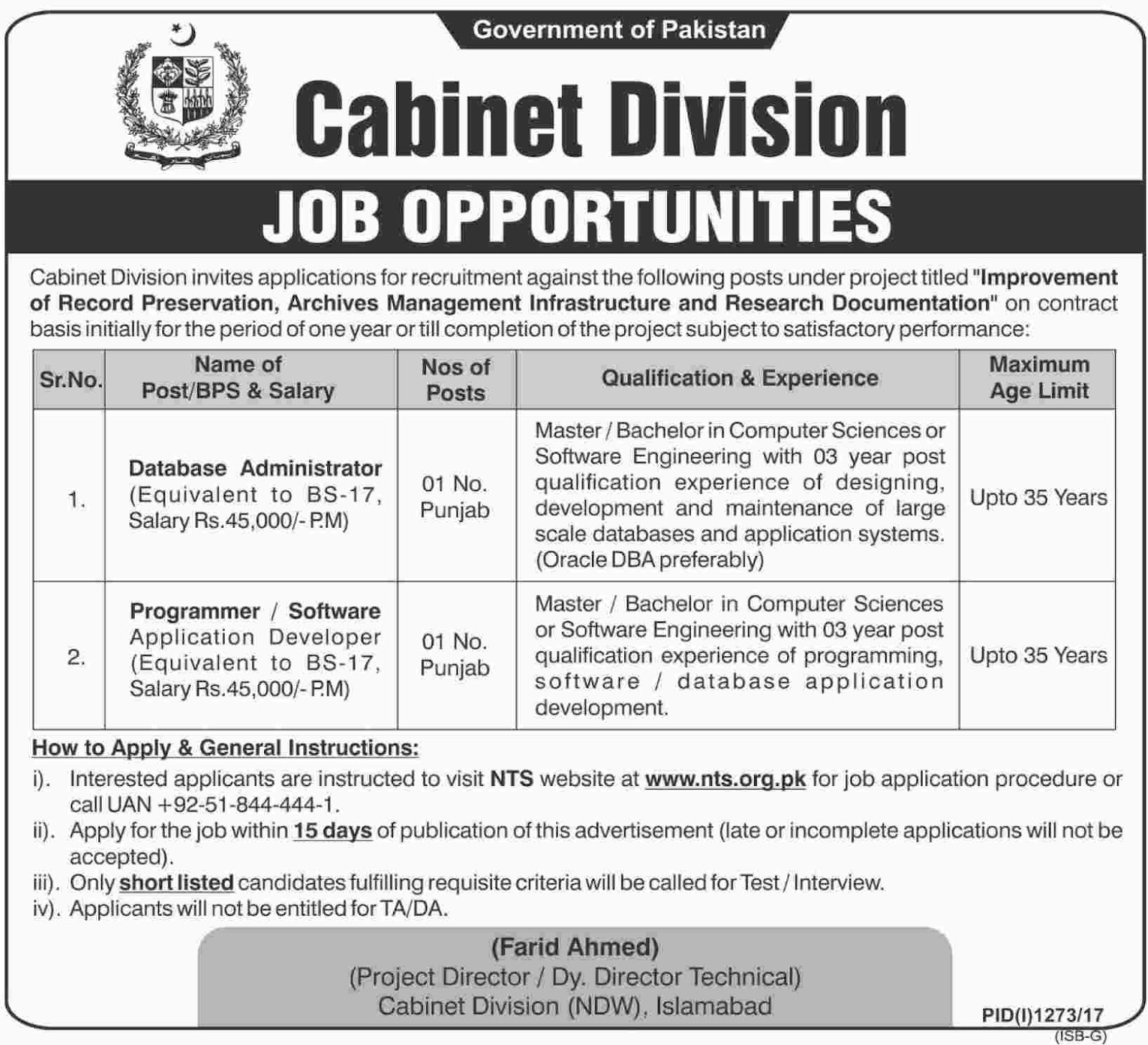 Jobs In Cabinet Secretariat Govt Of Pakistan Islamabad Sep 2017