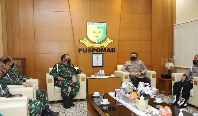 Perkuat Sinergi dalam Penegakan Disiplin Personel TNI-Polri, Kadiv Propam Sambangi Danpuspom AD