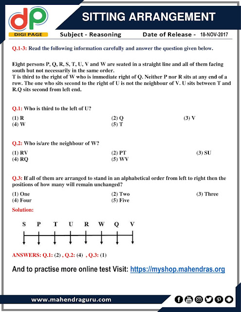DP |Sitting Arrangement For IBPS Clerk  | 18 - 11  - 17