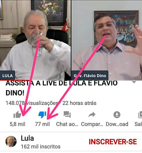 A Live de Flávio Dino e do larápio Luizinho 9 dedos, foi reprovada pela metade das pessoas que assistiram!!!