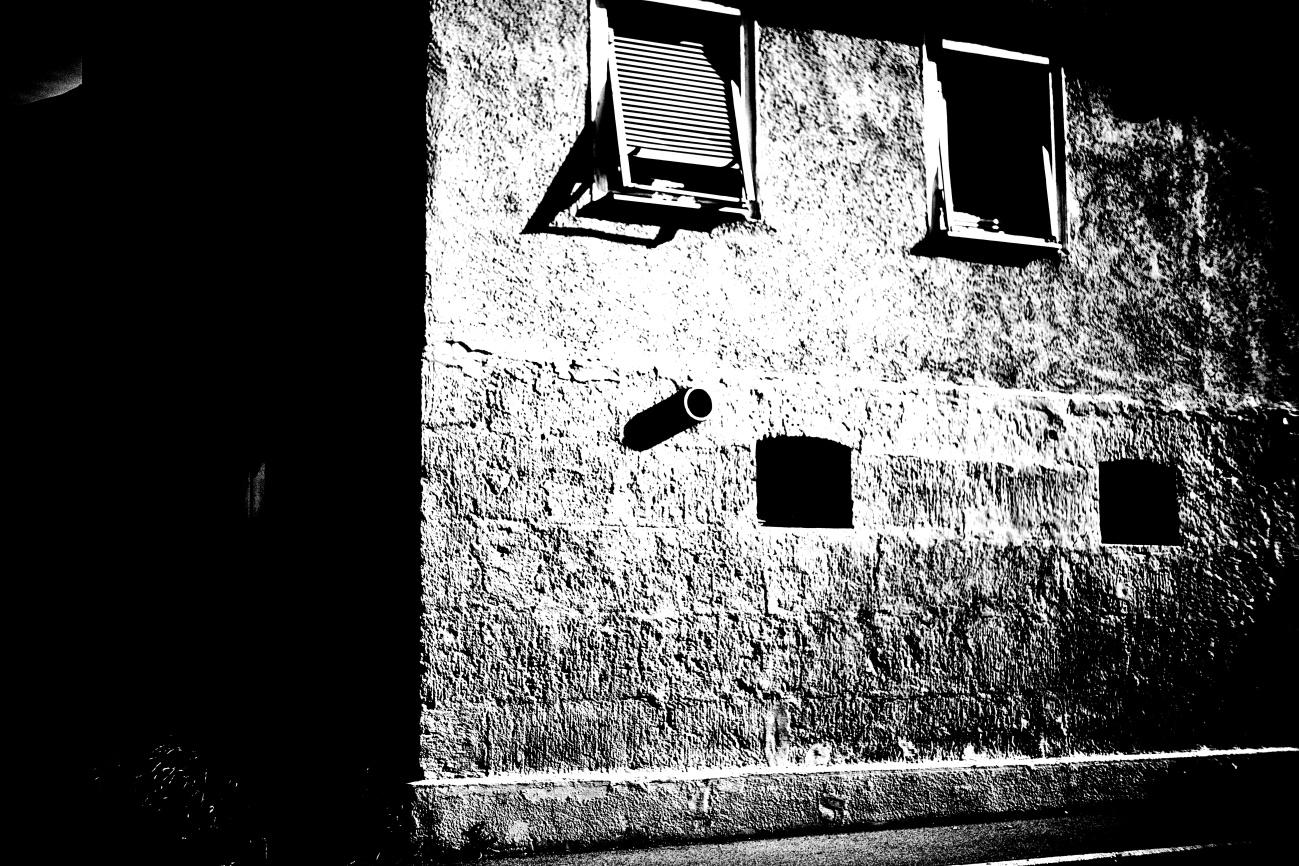 Bild des Tages #111 — Lens Camera Gun #11 — Fassaden&Mauern #29 -- Black & White 2021 – JULI