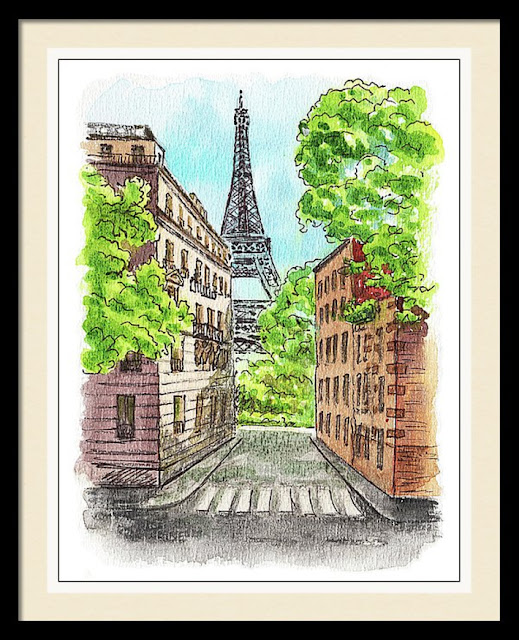 travel sketch of Paris France