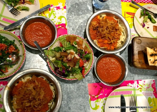 Koshari and Arabic salads at Zaroob