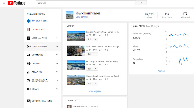 David Barr's YouTube real estate channel dashboard