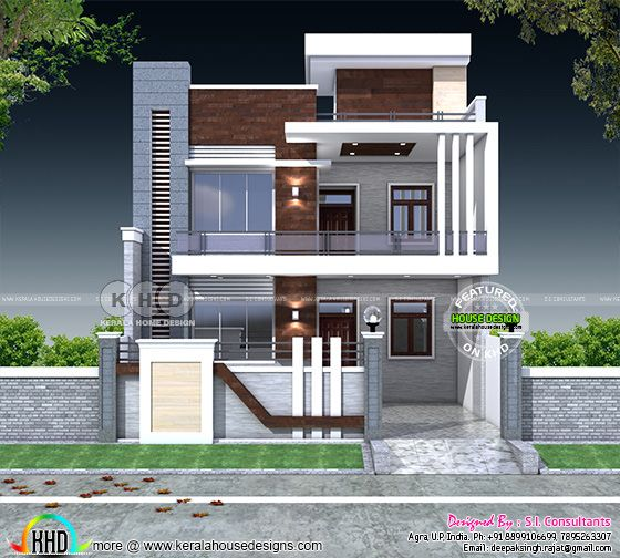 Home Design Exterior Ideas In India: 5 Bedroom Flat Roof Contemporary India Home