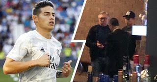 Real Madrid star James seen with Carlo Ancelotti at Liverpool hotel ahead of Everton transfer