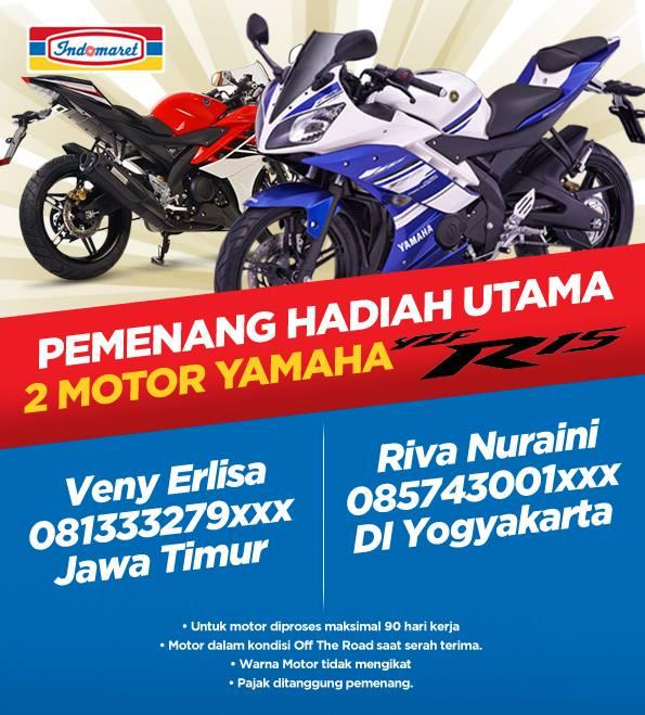 Pemenang 2 Motor Yamaha R15 dari Kuis Tebak Harga Indomaret