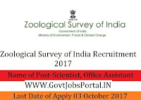 Survey of India Recruitment 2017 – Scientist, Office Assistant