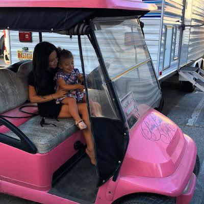Tammin Sursok and daughter Phoenix on set PLL 7x07 pink PLL golf cart