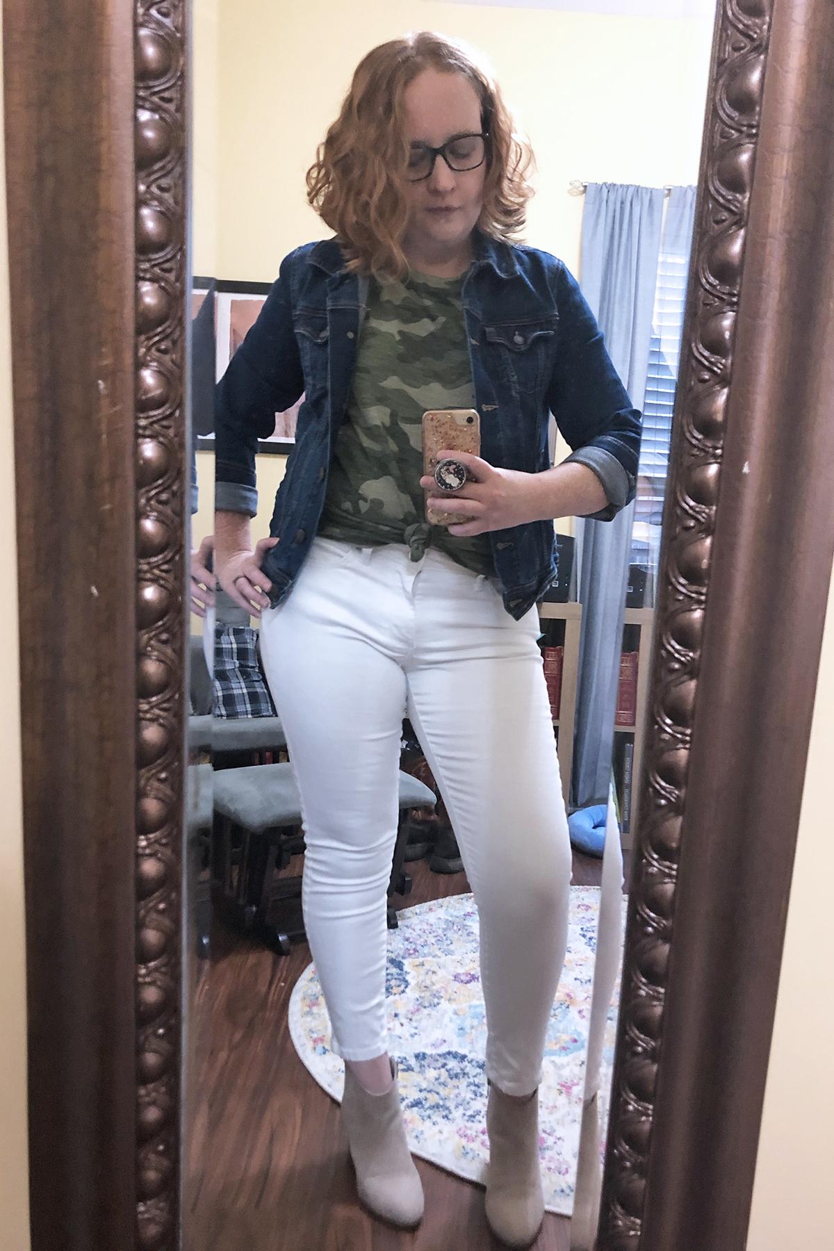 white jeans camo tshirt denim jacket