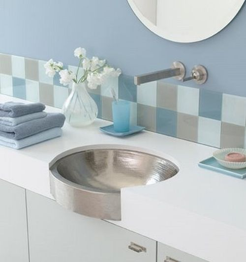creative grey and blue bathroom details