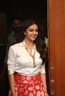 Keerthy Suresh in White Dress with Cute Smile at Pandem Kodi 2 Promotions 3