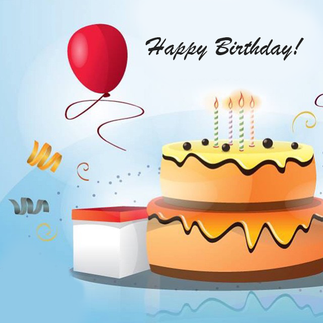 Happy Birthday Greeting Card Blue Cake Candles