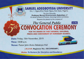 SAU 5th Convocation Ceremony Programme of Events 2019