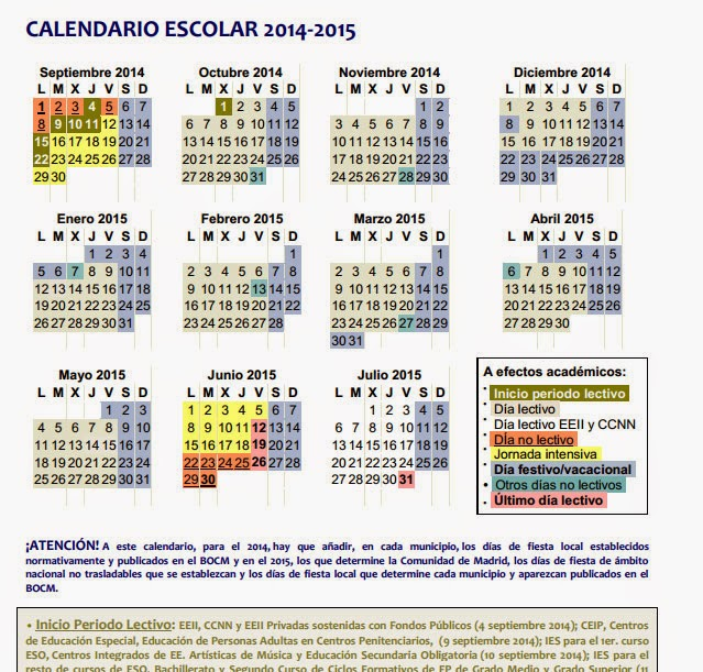 Detalle del calendario para escuelas infantiles de Madrid