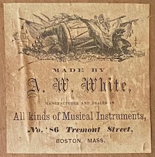 A. W. White makers label, ca. 1863 - 1870