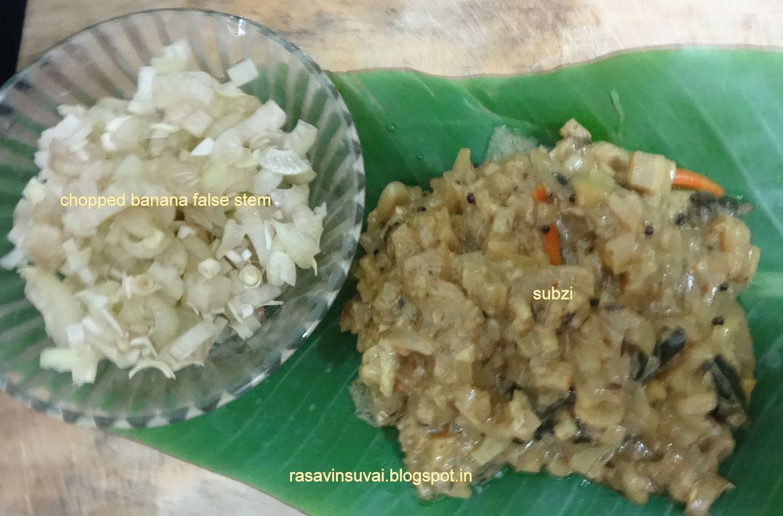 Rasavinsuvai baby banana plant stem curry let us look at the recipe now forumfinder Gallery
