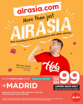 Iklan Budget Flight AirAsia to Madrid