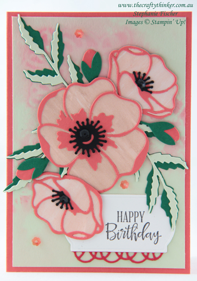 #thecraftythinker #stampinup #peacefulpoppies #minicatalogue #cardmaking , Peaceful Poppies, Mini Catalogue, Floral Card, Make Your Own Stencil, Stampin' Up Demonstrator, Stephanie Fischer, Sydney NSW