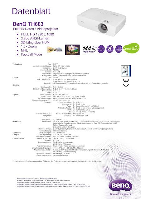 Datenblatt Beamer BenQ TH683 Full HD 3D DLP-Projektor