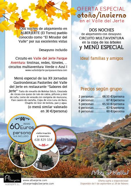 Oferta Otoño/Invierno en el Valle del Jerte. Otoñada