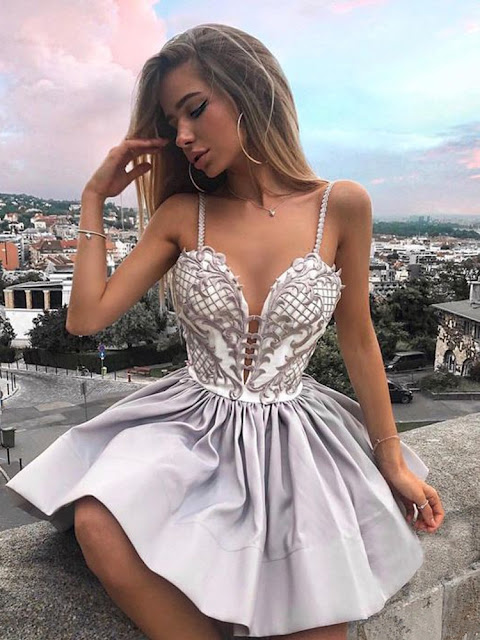 Fashion Spaghetti Strap Lace Homecoming Dress | Short Cute Party Gown