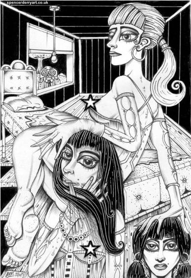 Voyeuristic Surrealistic Eroticism Illustration.