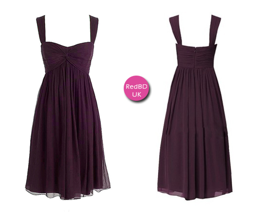 Chiffon Sweetheart with Shoulder Straps Gather Bodice Empire Knee-length Bridesmaid Dress
