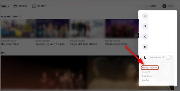 Click on Manage Profiles Hulu