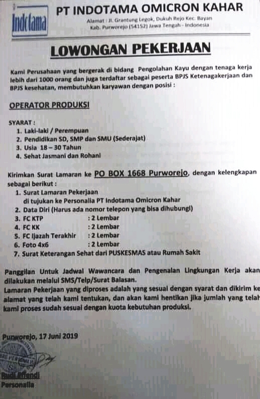 Lowongan Kerja Pt Indotama Omicron Kahar Operator Produksi Purworejo Sd Smp Sma Sederajat Loker Swasta