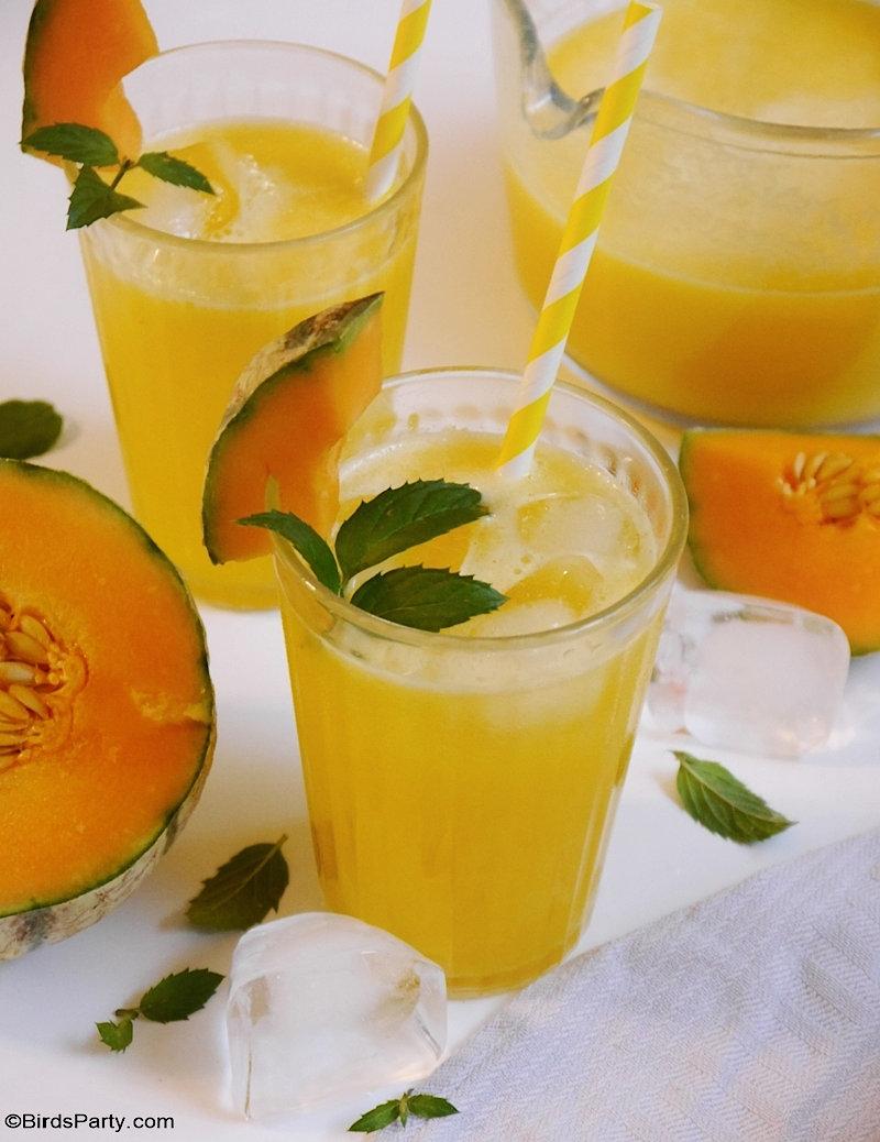 Limonade au melon cantaloup - recette saine, facile et rapide pour utiliser des fruits de saison et bon marché pour un apéro estival !