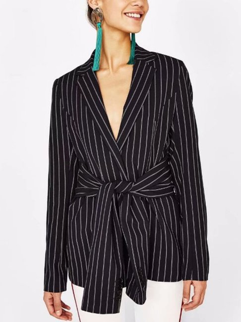 Notch Lapel Belt Striped Blazers -- Regular price $202.01 USD ---$67.34 USD Sale