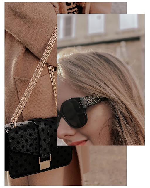 Zara polka dot gold chain tote bag