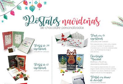 Postales navideñas de chocolate personalizadas