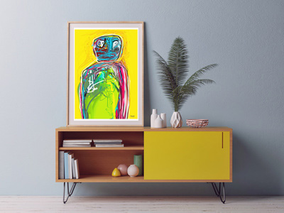 art print, buy art prints, original art prints, portrait art print, yellow, art print, artwork, artist, Sam Freek, abstract portrait art print,