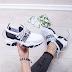 Pantofi dama sport albi cu negru si sireturi cu talpa groasa ieftini
