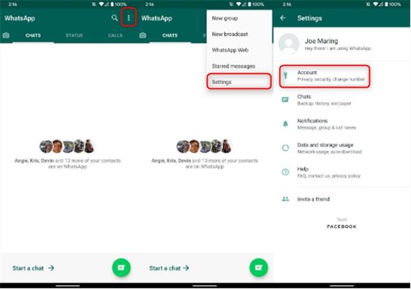 setting whatsapp