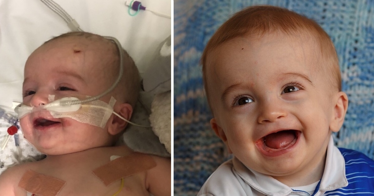 Adorable baby wakes up from coma with smile for dad