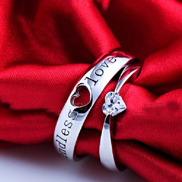 Cubic Zirconia Sterling Silver Couple Rings