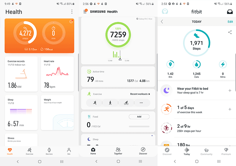 Huawei Health app, Samsung Health app, and Fitbit app