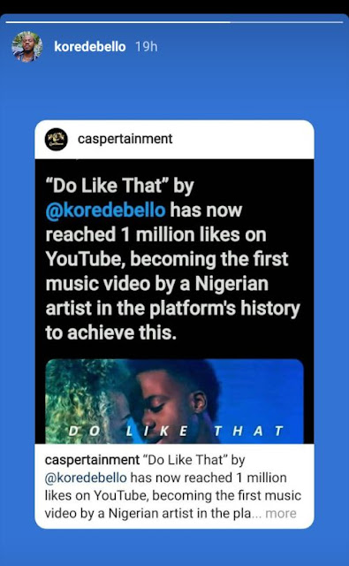 Korede Bello Breaks New Record; Becomes First Nigerian Artist To Have 1M Likes On YouTube 1