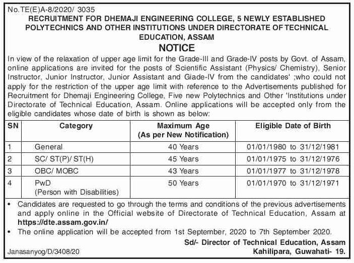 DTE, Assam Recruitment 2020