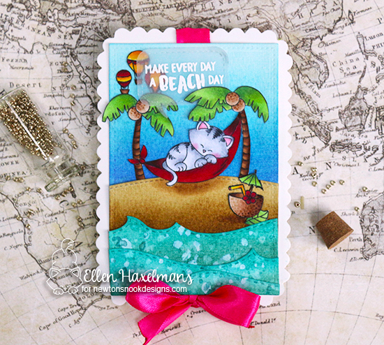 Beach Day Card by Ellen Haxelmans | Aloha Newton & Newton Dreams of Paris stamp sets by Newton's Nook Designs #newtonsnook